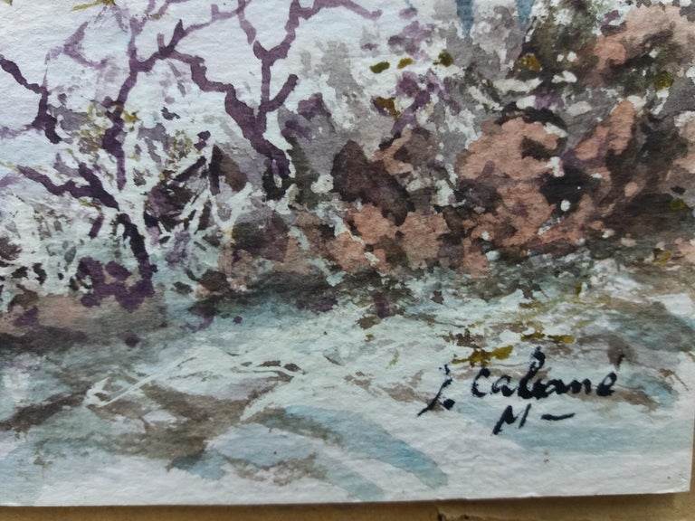 snowy landscape.  original watercolor painting For Sale 2