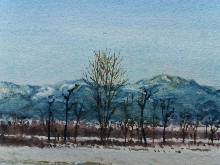 snowy landscape.  original watercolor painting For Sale 3