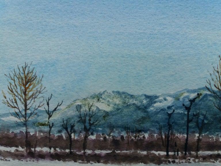 snowy landscape.  original watercolor painting For Sale 4