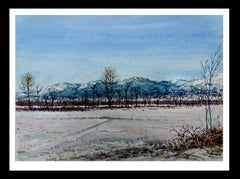 snowy landscape.  original watercolor painting