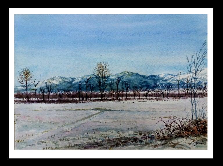 Joaquin Cabane Figurative Painting - snowy landscape.  original watercolor painting