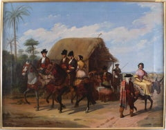"""""""Riders Passing by a Tavern"""",  19th Century Oil on Canvas by Joaq. D. Bécquer"""