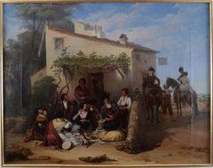 """The Picnic"",  19th Century Oil on Canvas by Artist Joaquín Domínguez Bécquer"