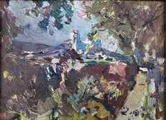 Impresionist spanish landscape Canyelles oil on painting