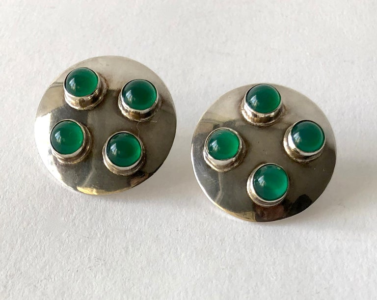 Joaquin Tinta Ecuadorian Sterling Silver Chalcedony Earrings In Good Condition For Sale In Los Angeles, CA