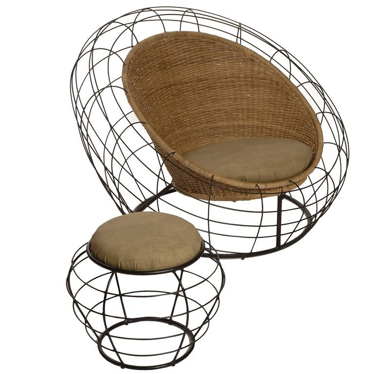Joatinga Brazilian Contemporary Natural Reed and Metal Easychair by Lattoog