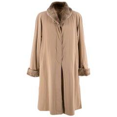 Jobis Beige Fur Inner-Lined Longline Coat 38