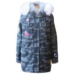Jocelyn Fox Fur Lined Camouflage Print Cotton Canvas Parka Coat