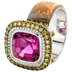 Jochen Leën Pink Tourmaline and Fancy Green Diamond Bronze & Gold Cocktail Ring