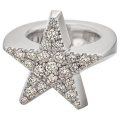 Jochen Pohl Brown Cognac Round Cut Diamond White Gold Star Ring