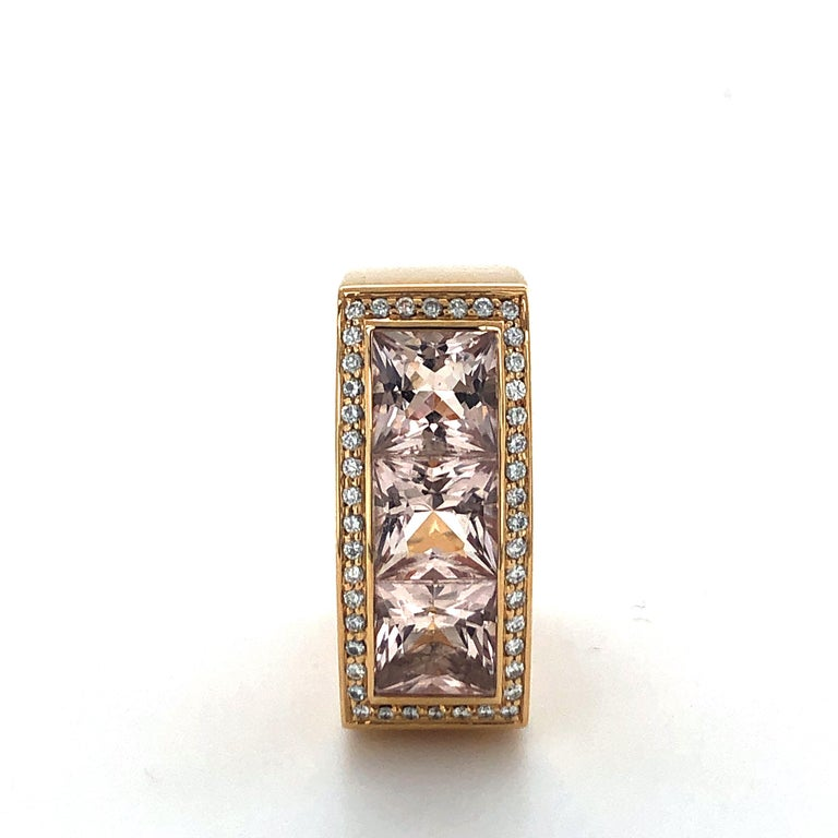 Jochen Pohl Morganite and Diamond Ring in 18 Karat Rose Gold For Sale 2