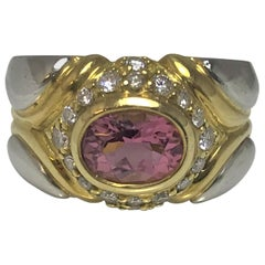 Jody Serago 18 Karat Platinum Pink Tourmaline Diamond Ring