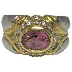 Jody Serago 18 Karat Platinum Pink Tourmaline Diamond Ring