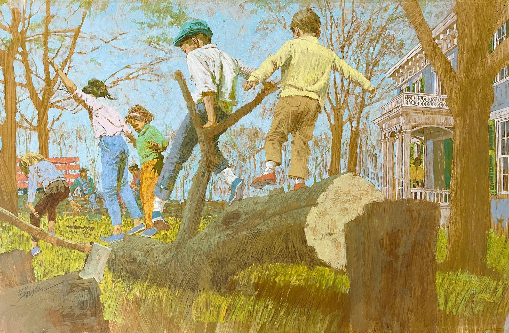 The Tree Cutters - Children Playing on a Fallen Tree - Saturday Evening Post?