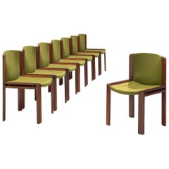 Joe Colombo '300' Dining Chairs in Moss Green Upholstery