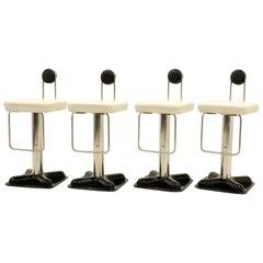 Joe Colombo Birillo Swivel Bar Stools, Set of Four, Fine Original Condition