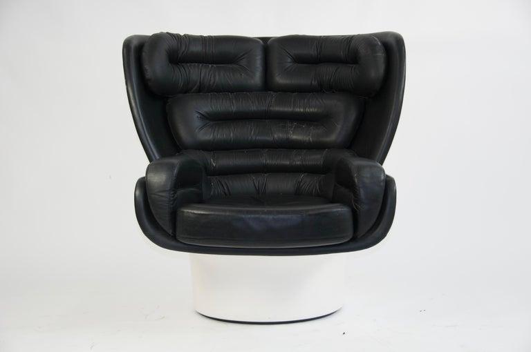 Mid-Century Modern Joe Colombo Black Leather Elda Chair For Sale
