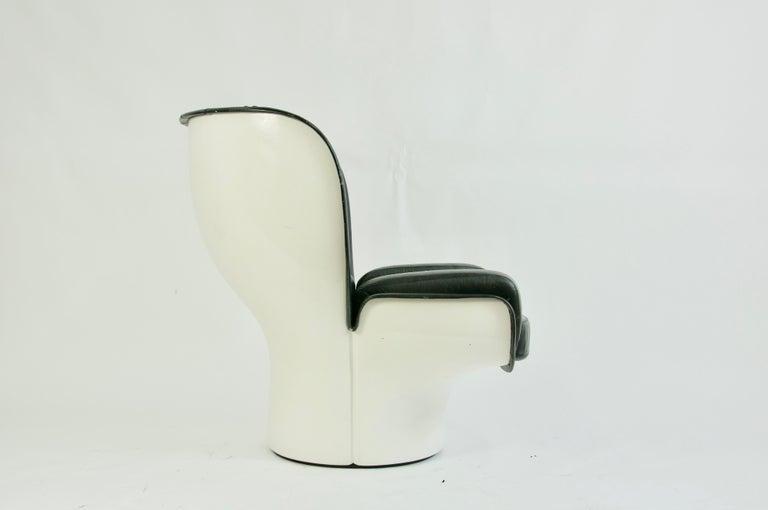 Italian Joe Colombo Black Leather Elda Chair For Sale