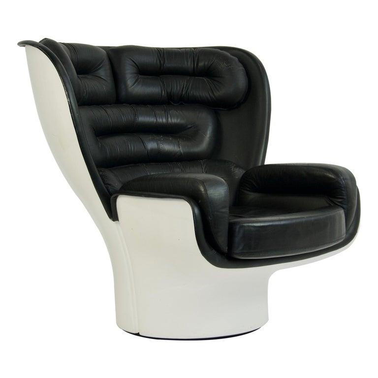 Joe Colombo Black Leather Elda Chair For Sale