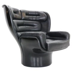 "Joe Colombo Black Leather ""Elda"" Swival Lounge Chair for Comfort, Italy, 1960s"