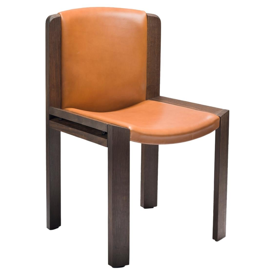 Joe Colombo 'Chair 300' Wood and Sørensen Leather Chair by Karakter