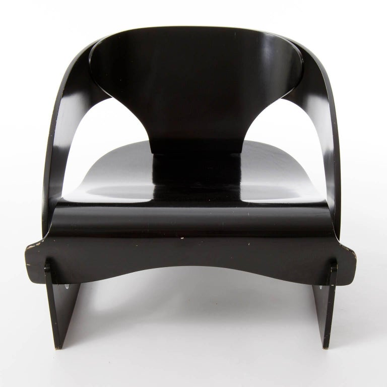 Joe Colombo Chair No. 4801, Black Plywood, Kartell, Italy, 1960s, One of Four For Sale 1