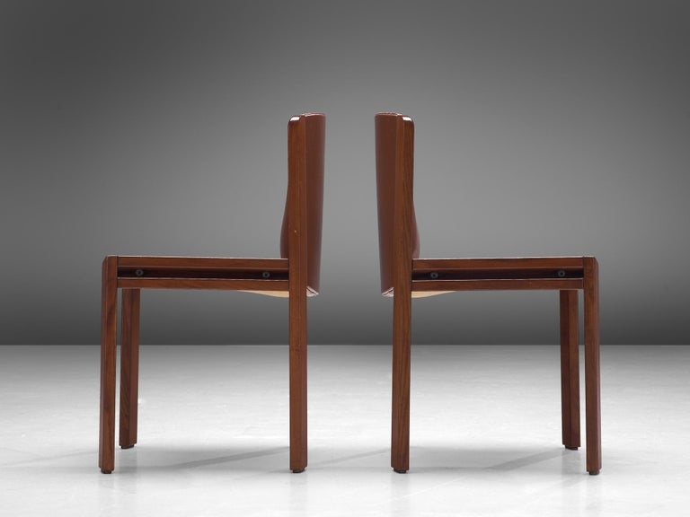 Joe Colombo Dining Chairs '300' in Black and Brown Leather For Sale 5