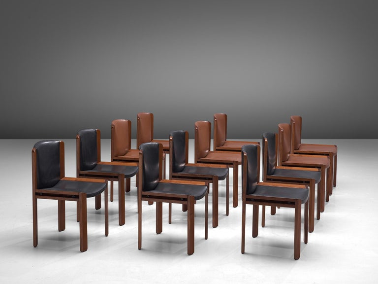 Joe Colombo Dining Chairs '300' in Black and Brown Leather For Sale 8