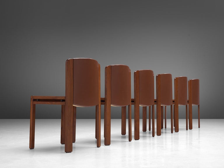 Joe Colombo Dining Chairs '300' in Black and Brown Leather For Sale 9