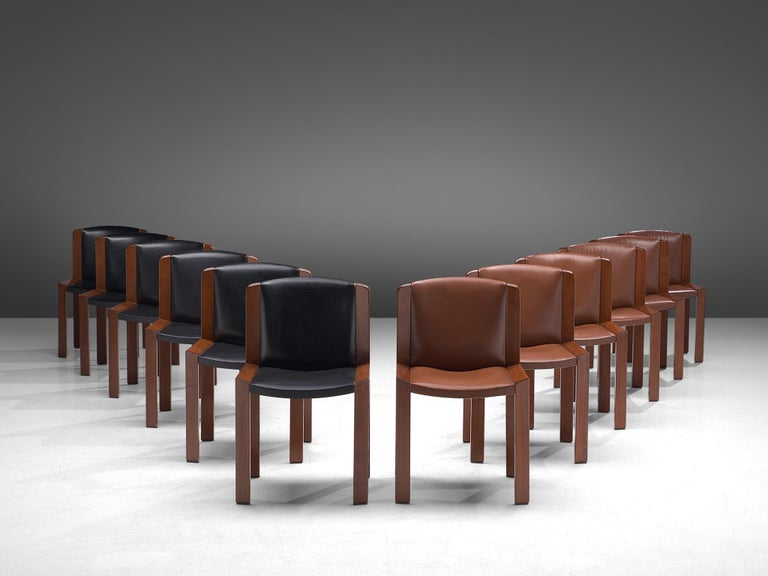 Mid-Century Modern Joe Colombo Dining Chairs '300' in Black and Brown Leather For Sale