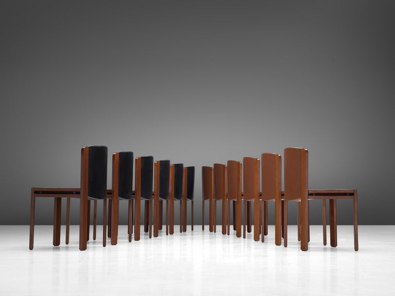 Italian Joe Colombo Dining Chairs '300' in Black and Brown Leather For Sale