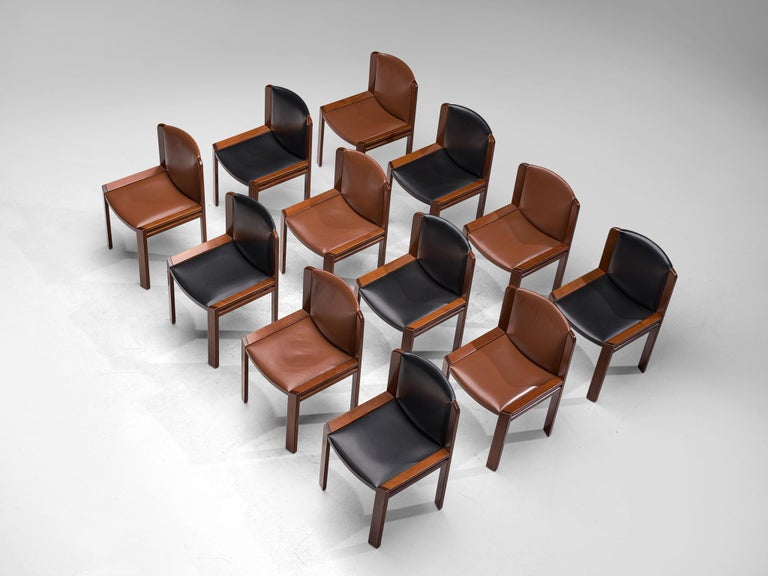 Joe Colombo Dining Chairs '300' in Black and Brown Leather In Good Condition For Sale In Waalwijk, NL
