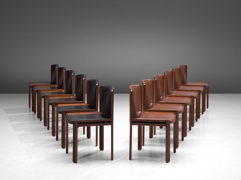 Mid-20th Century Joe Colombo Dining Chairs '300' in Black and Brown Leather For Sale