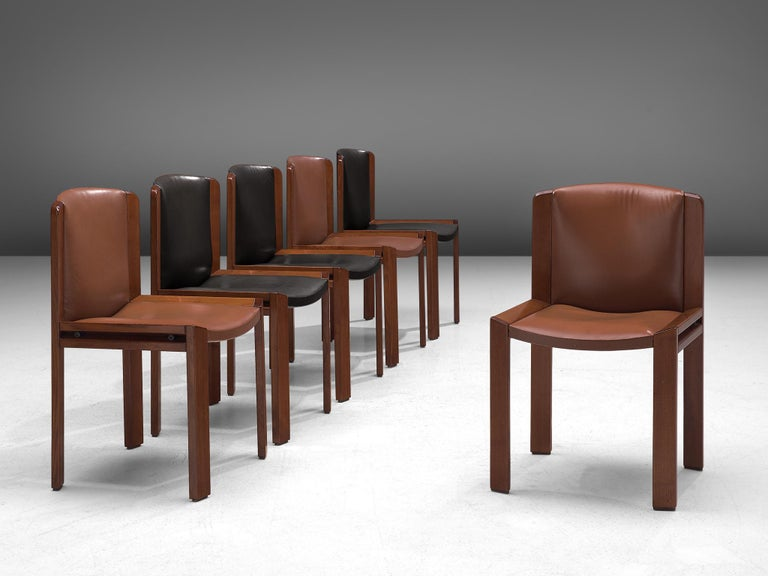 Joe Colombo Dining Chairs '300' in Black and Brown Leather For Sale 2