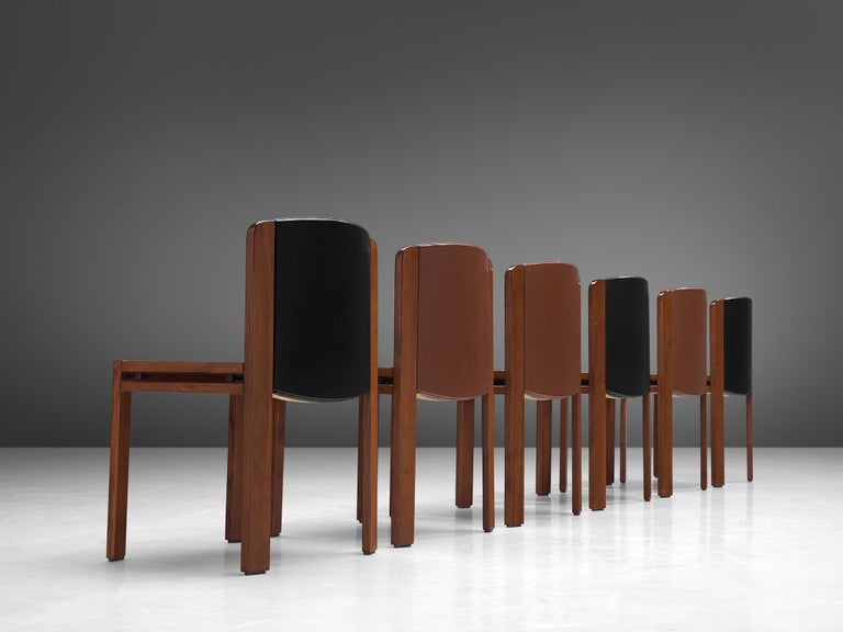 Joe Colombo Dining Chairs '300' in Black and Brown Leather For Sale 3