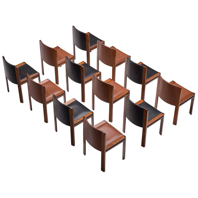 Joe Colombo Dining Chairs '300' in Black and Brown Leather For Sale