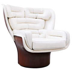 """Joe Colombo """"Elda"""" Armchair in White Leather and Red Structure, 1963"""