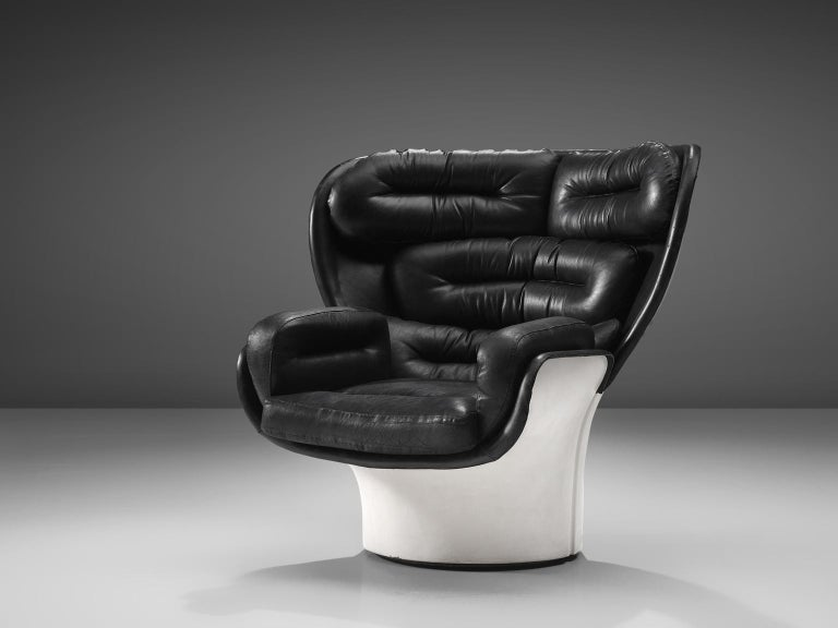 Joe Colombo for Comfort, lounge chair model Elda, fiberglass and leather, Italy, design 1963, later production. 