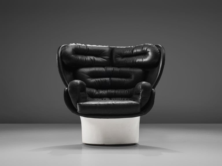 Mid-Century Modern Joe Colombo 'Elda' Black Leather Lounge Chair For Sale