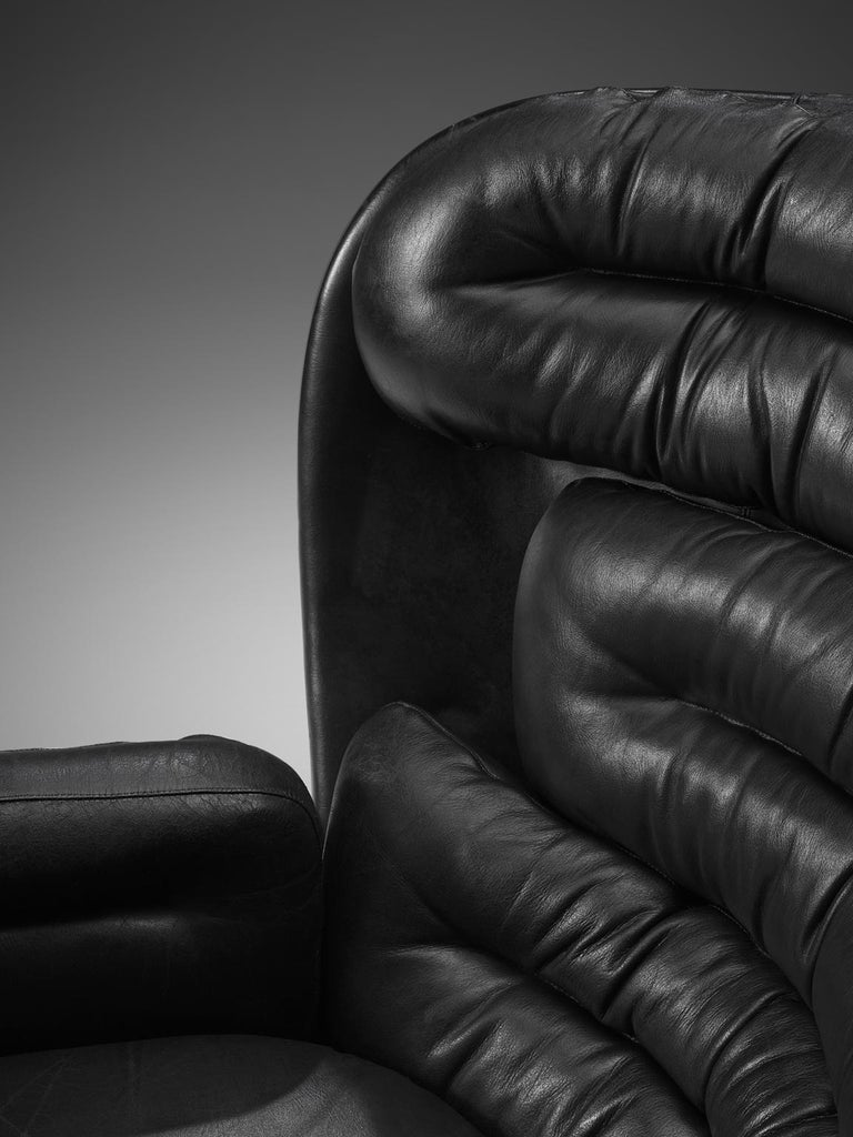 Joe Colombo 'Elda' Black Leather Lounge Chair For Sale 1