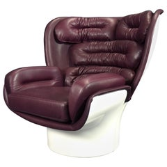 Joe Colombo Elda Chair for Longhi Italy in Red-Violett Anilin Leather