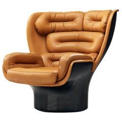 Joe Colombo 'Elda' Lounge Chair in Cognac Leather