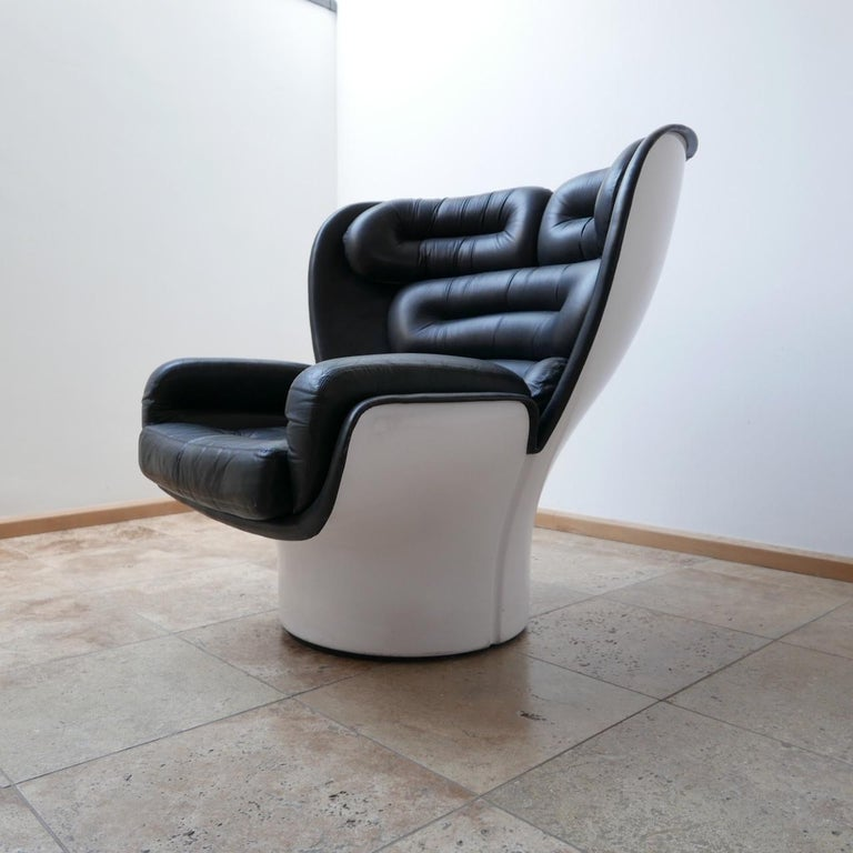 Leather Joe Colombo 'Elda' Midcentury Italian Armchair For Sale