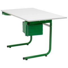Joe Colombo for Bieffeplast White and Green Desk, 1970s