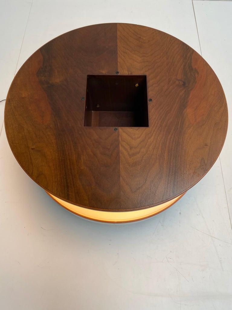 Enameled Joe Colombo Illuminated Rosewood Coffee Table, 1963, Original Bernini Label For Sale
