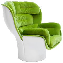 "Joe Colombo Mid-Century Modern Green Velvet ""Elda"" Italian Lounge Chair"