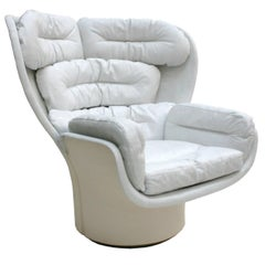 "Joe Colombo Mid-Century Modern White Leather Swivel ""Elda"" Italian Lounge Chair"