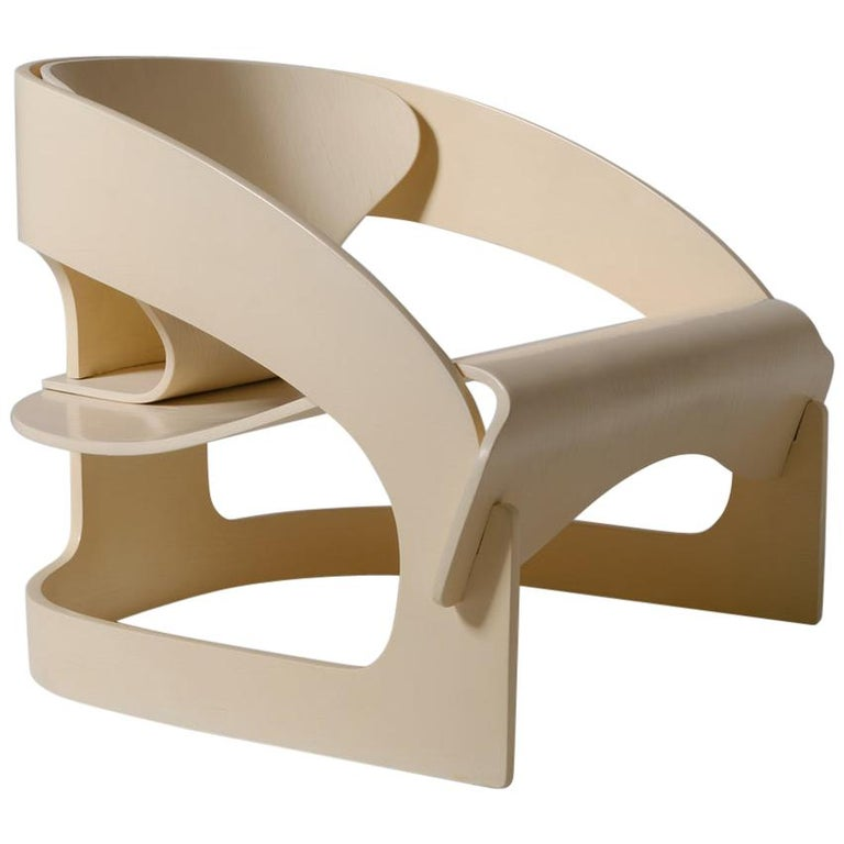 Joe Colombo plywood armchair, 1965, offered by Contemporary Showroom