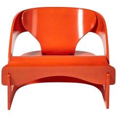 Joe Colombo Orange 4801 Lounge Chair by Kartell, Italy, 1960s