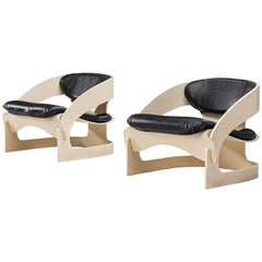 Joe Colombo Pair of Lounge Chairs '4801' in Black Leather and Plywood